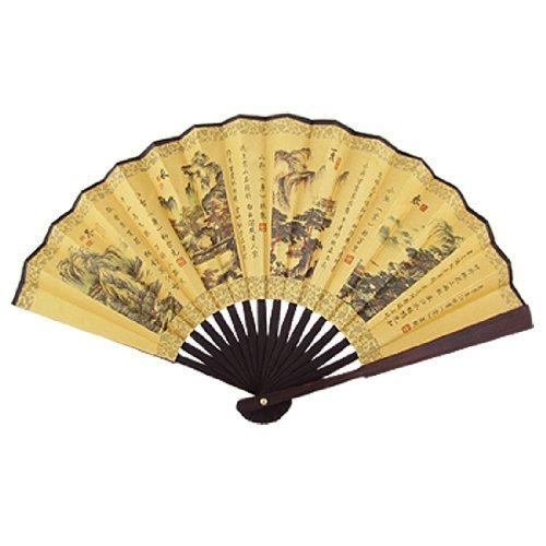 Chinese Gedichten Print Bamboo Ribben Stof Folding Fan Hand