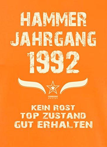 Geburtstagsgeschenk T-Shirt Männer Geschenk zum 25 .Geburtstag Hammer Jahrgang 1992 - auch in Übergrößen - Freizeitshirt Herren Farbe: orange Orange