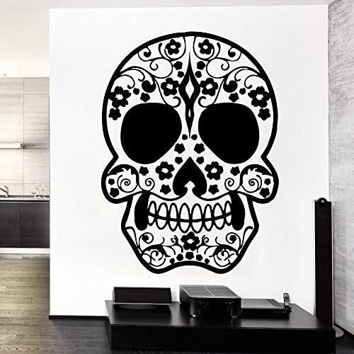 Entworfen Tattoo Gesicht Zuckerschädel Vinyl Wandbild Kreative Kunst Wandaufkleber Home Room Decor Blumenmuster Wandbild 56 * 76 cm