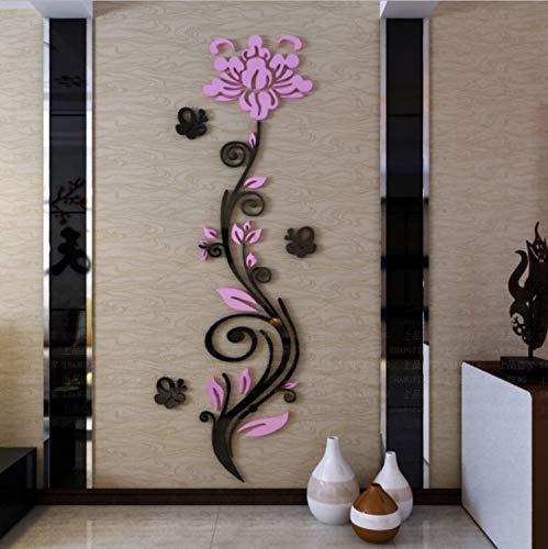 xsongue Rose Vine 3D Crystal Acrylic Mirror Wall Stickers Entranceway Tv Background Art Decor Sofa Wall DIY Waterproof Wall Stickers -