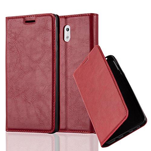 Cadorabo Hülle für Nokia 3-2017 - Hülle in Apfel ROT – Handyhülle mit Magnetverschluss, Standfunktion und Kartenfach - Case Cover Schutzhülle Etui Tasche Book Klapp Style