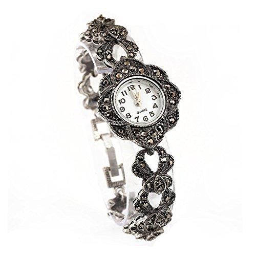 Klassische Antikstil Trachtenschmuck Armbanduhr - Dirndl Armband mit Uhr - Kristall (Blütenform)