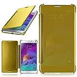 moex Samsung Galaxy Note 4 | Hülle Transparent TPU Void Cover Dünne Schutzhülle Gold Handyhülle für Samsung Galaxy Note 4 Case Ultra-Slim Handy-Tasche mit Sicht-Fenster