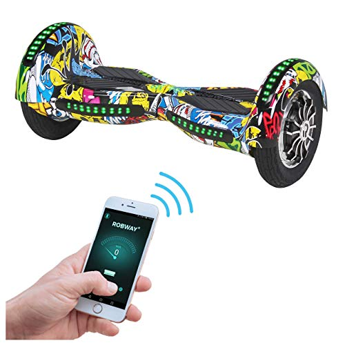Robway W3 Hoverboard - Das Original - Samsung Marken Akku - Self Balance - 21 Farben - Bluetooth - 2 x 400 Watt Motoren – App – LED (Grafit Gelb)