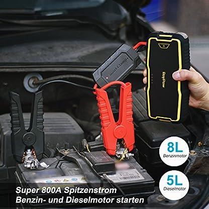 51cn9YNnBRL. SS416  - RoyPow IP66 Arrancador de Coche (Motores Gasolina 8.0L o Diesel 5.0L) Arrancador de baterías Batería automática Power Booster Banco de energía 120W 12V DC Power Pack