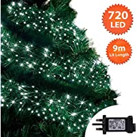 Christmas Lights 720 LED 9m Cool White Outdoor Cluster Tree Lights String Indoor Fairy Lights Memory Timer Mains Powered 29ft Lit Length10m/32ft Gutter Green Cable