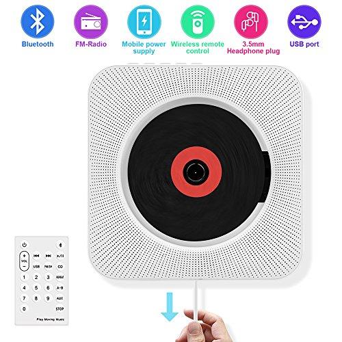 CD Player Portable, Wandmontierbar CD-Player mit Bluetooth, Fernbedienung, FM Radio, Eingebauter HiFi Lautsprecher, Unterstützt USB,MP3,3,5mm Kopfhörer,Jack Aux Input/Output von HANPURE (Weiß)