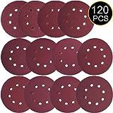 Discos de Papel de Lija 120 Piezas, 125mm/5 Pulgadas 8 Agujeros ETEPON