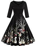 WOW Factors® 1950s Vintage Kleid 3/4-Arm Partykleid Schwarz 4XL