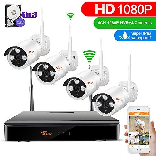 CORSEE 4 Kanal 1080P NVR + 4x1080P Funk Überwachungsset HD 2.0MP WLAN Outdoor Netzwerk Außen IP Überwachungskamera, Kabellos, Handy-View, Bewegungsmelder,in 1TB Hard Five Gebaut