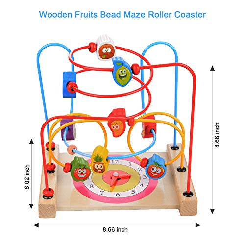 Facethoroughly Wooden Bead Maze Toy, 14Pcs Wooden Baby Toddler Toys Mathematic Counting Sticks Cube Block Jigsaw Puzzles Educational�Toys