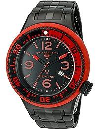 Swiss Legend Neptune Force Hombre Reloj de cuarzo con Negro esfera analógica pantalla y negro pulsera de acero inoxidable sl-21819p-bb-11-rb