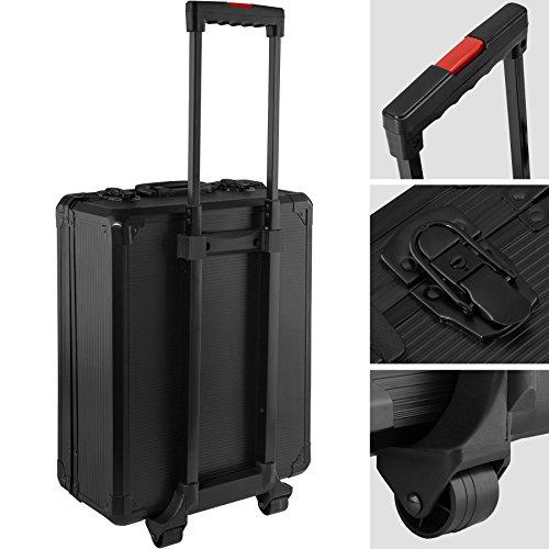 TecTake 899 teiliger Alu Werkzeugkoffer Trolley mit Werkzeug gefüllt | 4 Ebenen | Teleskopgriff | schwarz
