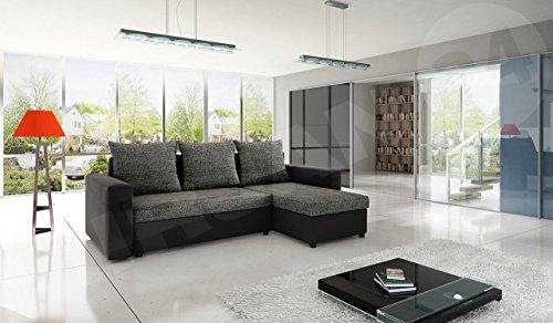 Ecksofa Top Lux! Sofa Eckcouch Couch! mit Schlaffunktion und zwei Bettkasten! Ottomane Universal, L-Form Couch Schlafsofa Bettsofa Farbauswahl (Soft 011 + Lawa 06) - 2
