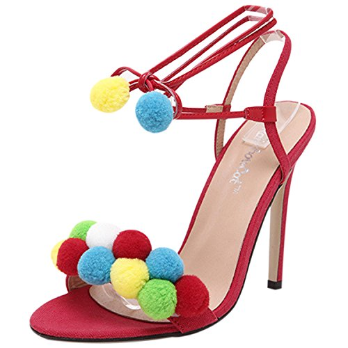 Oasap Women's Peep Toe Ankle Lace-up High Heels Sandals with Pom Pom white