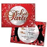 Einladungskarten zum Geburtstag - Let's Party | 40 Stück | Tanzen - Dance | Inkl. Druck Ihrer persönlichen Texte | Individuelle Einladungen | Karte Einladung