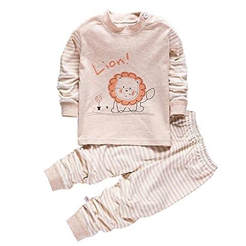 100% Cotton Baby Boys Girls Pajamas Set Long Sleeve Sleepwear(6M-5Years) (Tag55(12-24 months), Pattern 1)