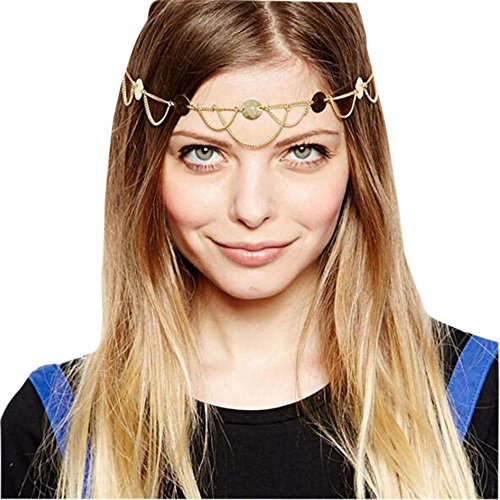 Kostüm Metal Hair - Gracewedding Women Fashion Metal Head Chain Jewelry Headband Head Piece Hair Band