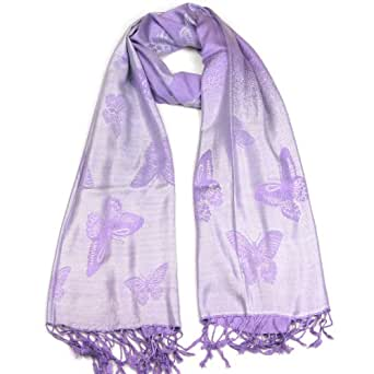 Women's Pashmina Scarf - Silver & Purple - Ladies Butterfly Scarfs - Scarves - Unique Gifts for Her