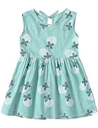 vestidos de niña, ASHOP Vestido sin mangas estampado floral vestidos de fiesta princesa niña Vestido