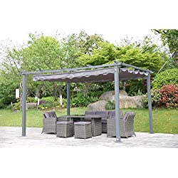 Angel Living Pergola en Aluminium avec Toit Rétractable, Tonnelle en Tissu de Polyester Résistant à l'eau et Aux UV, Pergola pour Terrasse Jardin Patio (Gris 3X4m)