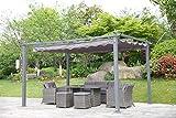 Angel Living Pergola Grigio in Alluminio Pavilion e Poliestere Regolabile Beige Tetto