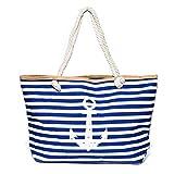 Kandharis Strandtasche Badetasche große Sommertasche Schultertasche Shopper mit Reissverschluss...