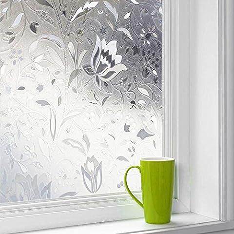 Concus-T Électrostatique Film Protége Intimité Dépoli de Fenêtre Décoratif Intimité Film pour vitrage Tulipe 45*200cm