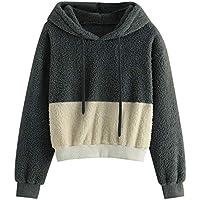 Hanomes Damen pullover, Damen Langarm-Plüsch-Farbblock mit Kapuze Rundhals Sweatshirt Bluse Tops preisvergleich bei billige-tabletten.eu