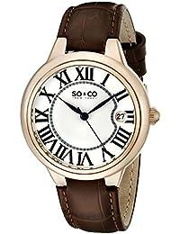 So y de Nueva York Madison Co para mujer reloj infantil de cuarzo con plateado esfera analógica y correa de piel color marrón 5052l, 2