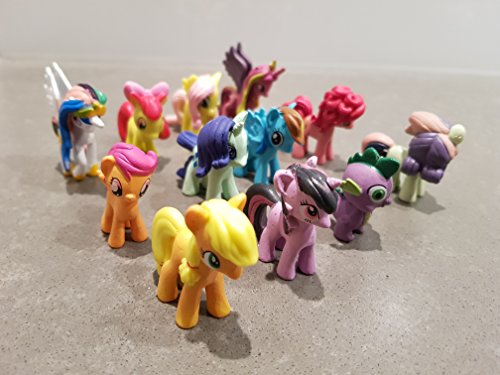 12Little Pony Mini Figuren Spielzeug Pferd Kuchen Cupcake Topper Party Tasche Strumpffüller Riding Lovers Mädchen Jungen (Pony-geschenk-tasche Little My)
