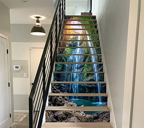 FLFK 3D Cascata nella profonda foresta Autoadesiva Le scale alzata Murale Vinile decalcomania Adesivi per scale decorazione 39,3 pollici x7,08 pollici x 13 pezzi