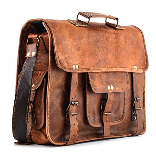 A.P. Donovan - Notebook-Tasche Leder Herren Laptoptasche messenger bag - Akten-Tasche braun Universität Ledertasche