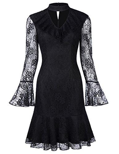 elegantes kleid damen kurz festkleid schwarz ballkleid spitze sommerkleider KK682-1 USA10