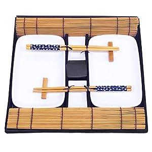 Exzact EX-SG 10 Stück Sushi Set - 2 x Sushi Teller, 2 x Dip Schüsseln, 2 x Bambus Sushi Rollmatten, 2 x Bambus Stäbchen Rests, 2 Stäbchen Stäbchen - Schön präsentiert in einer Geschenkbox