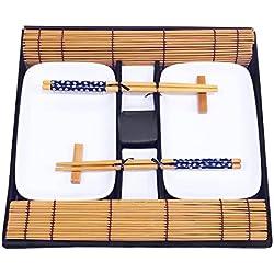 Exzact EX-SG Hermoso Estilo Oriental Set de sushi de 10 piezas - 2 x platos de sushi, 2 x tazones de inmersión, 2 x Bamboo Sushi Rolling Mats, 2 x palillos de bambú Rests, 2 pares de palillos - hecho de porcelana de alta calidad - bellamente presentado en una caja de regalo (EX-SG)