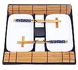 Exzact EX-SG 10 Stück Sushi Set - 2 x Sushi Teller, 2 x Dip Schüsseln, 2 x Bambus Sushi Rollmatten, 2 x Bambus Stäbchen Rests, 2 Stäbchen Stäbchen - aus hochwertigem Porzellan - Schön präsentiert in einer Geschenkbox