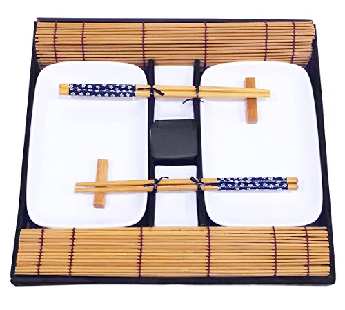 Exzact Juego de sushi de 10 piezas en una caja de regalo (31 x 30 cm), un juego de sushi completo para 2 personas: 2 x platos de sushi (20 x 12 cm), 2 x tazones (7 x 4 cm), 2 x sushi de bambú Manteles individuales (30 x 25 cm), 2 descansos para palil...