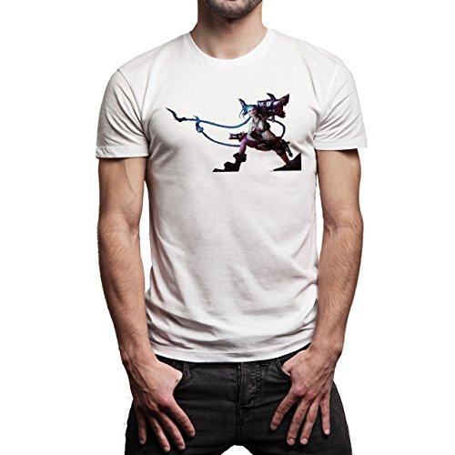 League Of Legends Champion Character Art Jinx Art Background Herren T-Shirt Weiß