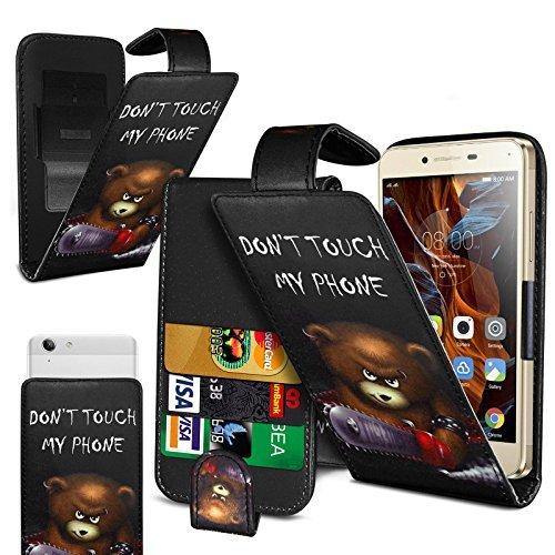 N4U Online - Various Gemustert Bedruckt Clip On Kunstelder Klapptasche Cover Für Sony Xperia E1 dual - Don't Touch - Bär
