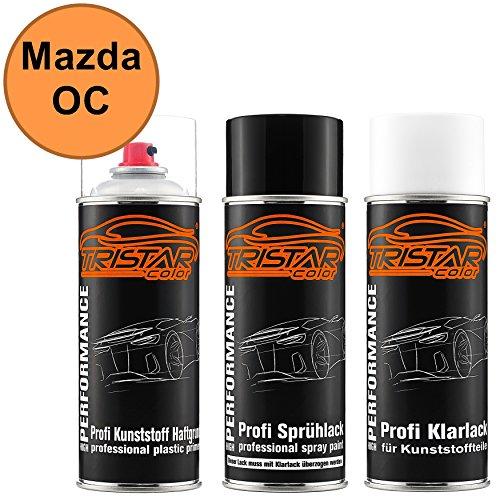 TRISTARcolor Autolack Spraydosen Set für Kunststoff Stoßstange Mazda OC Clair Orange Haftgrund Basislack Klarlack mit Weichmacher Sprühdose