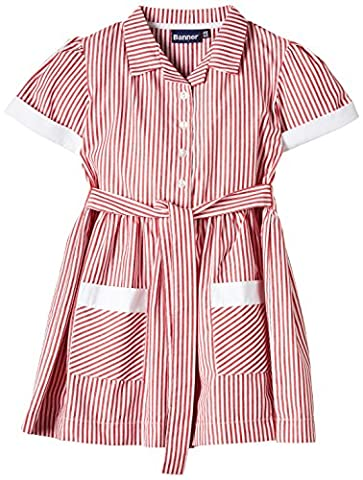 Blue Max Banner Girls Kinsale Striped Short Sleeve Dress, Red, Size 8 (Manufacturer Size:7/8)