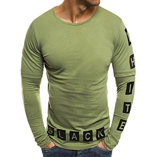 Ashui Herren T-Shirt Basic O-Neck Tee Langarmshirt Slim Fit Langarm Rundhals Tops Longsleeve T-Shirt Sweatshirt in Gebatikt Farbverlauf Freizeit Casual Lang Geschnittenes T-Shirt Bequem Sport Shirt Rib Fleece-v-neck Sweatshirt