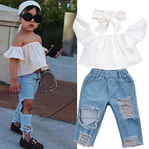 Kindermode Kinderkleidung Babykleidung Longra Kinder Sommer Schulter Weiß Crop Tops + Loch Jeans Hosen Stirnband kinderbekleidung Sets (White, 100CM 2Jahre) (Strass-kinder Jeans)