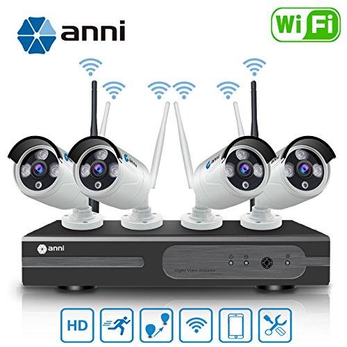 Anni 8CH 720P Wireless Kit Videosorveglianza HD NVR Kit Wifi Sistemi di sorveglianza,(4) 1.0MP Telecamere Bullet IP per esterni,P2P,65ft Visione notturna,Nessun cavo video necessario,NESSUN HDD