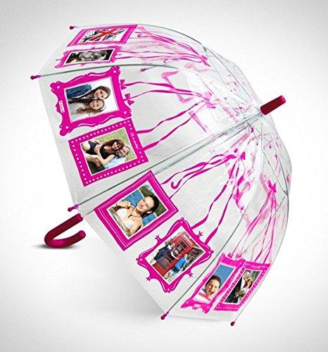 Clippy Foto Regenschirm - Kids Pink: Regenschirm mit 16 Fototaschen - Sandalen-plattformen Stiefel