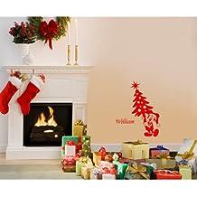 Tamaño 60 cm x 32 cm de Navidad Color Rojo Mickey mouse con su nombre elegido, nombre, nombre personaliseitonline, árbol de Navidad, infantil, vinilo del coche, las ventanas y pared, ventanas de pared arte, etiquetas de Navidad, adorno adhesivo de vinilo ThatVinylPlace