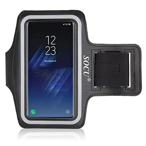 Samsung Galaxy S8 Armband, SOCU Sport Hülle Joggen Laufen Sportarmband Schutzhülle Case und Schlüsselhalter Kopfhörer Anschluss für Samsung galaxy s8