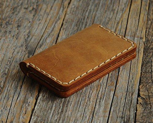 Leder Handgefertigte Geldbörse Wallet (Braunes Leder Ausweishülle Geldbörse Portemonnaie, langlebige Aufbewahrung von ID, Kreditkarten und Banknoten, Kartenhülle, Lederbrieftasche, Geldtasche)