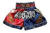 Nakarad Pantalones Cortos de Muay Thai (Rojo/Azul, XL)